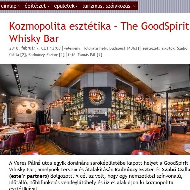Kozmopolita esztétika – The GoodSpirit Whisky Bar